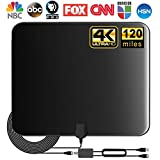 [Updated 2020 ] TV Antenna, Indoor Amplified Digital HDTV Antenna, 80-120 Miles Range Signal Booster for 4K...