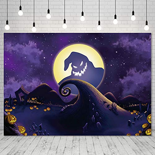 Miktwe 7X5ft Polyester Nightmare Before Christmas Backdrop for Halloween Pumpkin Moonlight Children Photography Background Baby Shower Photo Studio Party Pictures Background Party Home Decor Shoot