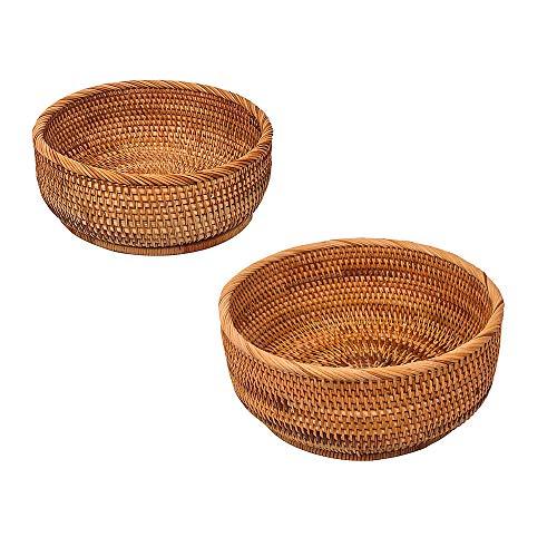 LINDGEE Handmade Rattan Round Bread Basket Wicker Tabletop Fruit Serving Tray Weaving Food Storage Bowls Decorative Wooden Holder (2-Size Kit, L&M)