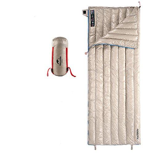 Tentock Súper Cálido compresión Ultraligero Ganso Abajo Envelope Saco de Dormir al Aire Libre con Cremallera para 3 Temporada Camping Senderismo(Caqui)
