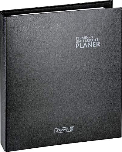 BRUNNEN 1075765901 Ringbuch-Kalender mit Einlage/Lehrerkalender, Termin- & Unterrichtsplaner 2020/2021, 2 Seiten = 1 Woche , Überformat A4: ca. 28 x 31,5 cm , Baladek-Einband , schwarz