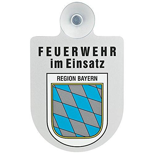 Feuerwehr im Einsatz KFZ Aluschild mit Saugnapf und Bundesland Wappen (Bayern)