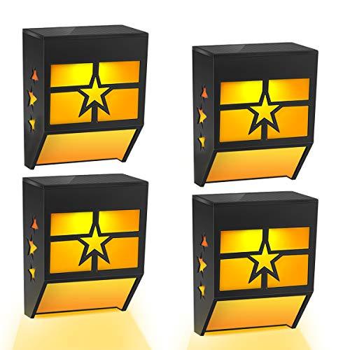 Solarlampen für Außen, Solarleuchten für Außen, LED Wandleuchte solarleuchten Solar Beleuchtung Wandlampen Solarlicht Außenleuchten für Garten, Balkon, Terrasse 4 Stück