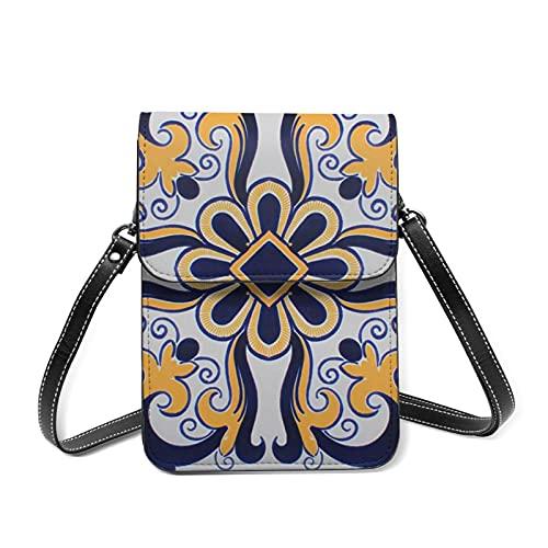 Among Us Bags Handy-Geldbörse, leicht, mehrfarbig, verstellbarer Riemen, Handytasche, Damen-Schultertasche, Orange - 24 portugiesische Fliesen - Größe: Einheitsgröße