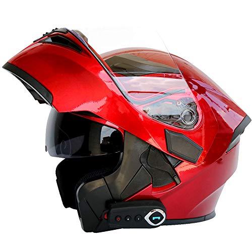 MTTK Casco de Motocicleta Bluetooth integrada con micrófono Oculto Moto abatible Casco Integral con Doble Lente, FM, GPS,A,M