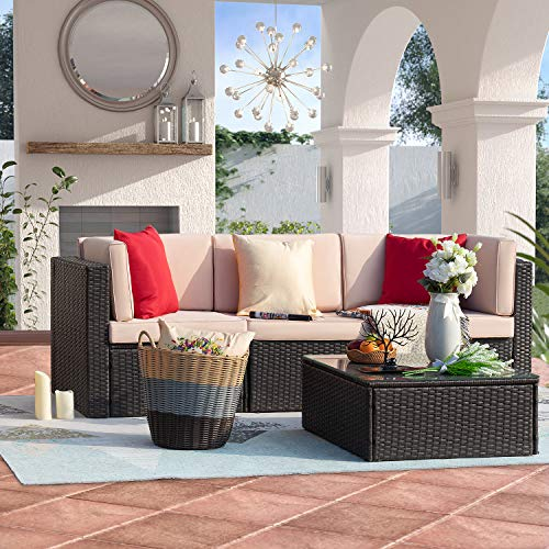 Homall 4 Pieces Patio Outdoor Furniture Sets, All Weather PE Rattan Wicker Sectional Sofa Modern Manual Conversation Sets with Cushions and Glass Table for Lawn Backyard Garden Poolside(Beige)