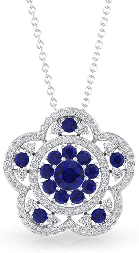Max 79% OFF 1.04 CT Round Blue latest Sapphire Pendant Certified Halo SGL Diamond