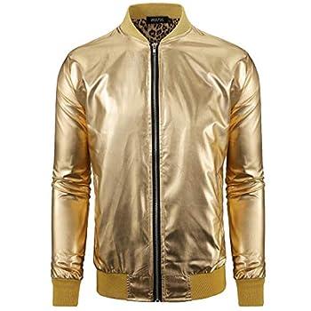 WULFUL Men Metallic Party Nightclub Jackets Gold Halloween Zip Up Baseball Bomber Jacket