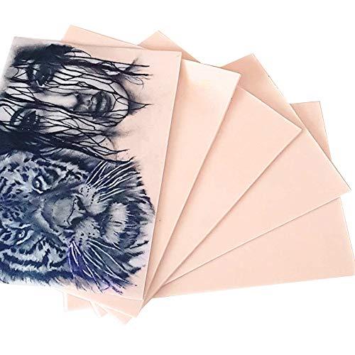 Kalolary Pratica la Pelle per un Tatuaggio, 10 x Pelle Bianca Doppia Facciata Pelle Tatuaggio Pratica Pelle per Principianti ed Esperti Tatuator, Bianco Crema