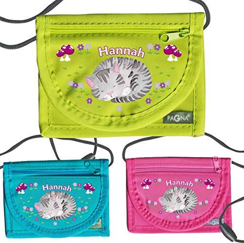 MissRompy | Brustbeutel Katze mit Name (827) und Sicherheitsverschluss Umhängebeutel breast bag Portemonnaie