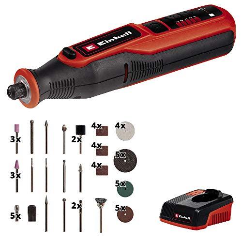 Einhell Akku-Schleif-/ Gravur-Werkzeug TE-MT 7,2 Li (7,2 V, 5500-26000 min-1, LED-Leuchtring, Drehzahlelektronik, inkl. 57-tlg. Zubehörset, Aufbewahrungsbox, Ladestation)