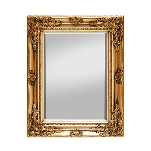 Rococo by Casa Chic - Espejo de Pared Shabby Chic - 42x53 cm - Madera Maciza - Espejo Estilo Vintage Francés - Oro Antiguo