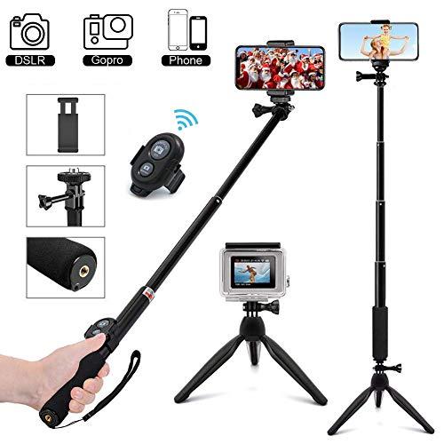 MCSWKEY Palo Selfie Trípode, Bluetooth Selfie Stick Trípode con Control Remoto 3 en 1 Monopod Soporte…