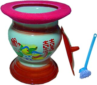 LZRZBH Ceramics Hamber Pot Bedpan Urinal Basin Urine Buckets Potty Urinals Toilet Chamberpot Urine Non-Slip Vintage Enamel High-Footed Old Man Children Potty Child Toilet Bowl (Color : Pink)