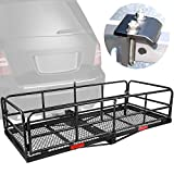 """XCAR High Side Folding Hitch Mount Rear Cargo Rack Carrier Luggage Basket 59"""" L x 24"""" W x 14'' H with Anti-Rattle Stabilizer Fits 2' Receiver Car SUV Truck - Great for Camping, Road Trip"""