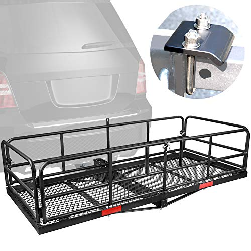 "XCAR High Side Folding Hitch Mount Rear Cargo Rack Carrier Luggage Basket 59"" L x 24"" W x 14'' H with Anti-Rattle Stabilizer Fits 2' Receiver Car SUV Truck - Great for Camping, Road Trip"