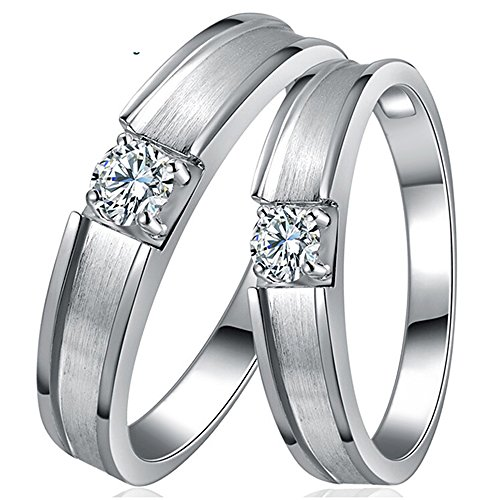 Amante Naturales Diamante Conjunto Pareja 14K Oro blanco Boda Promesa Propuesta de matrimonio Anillos Conjuntos