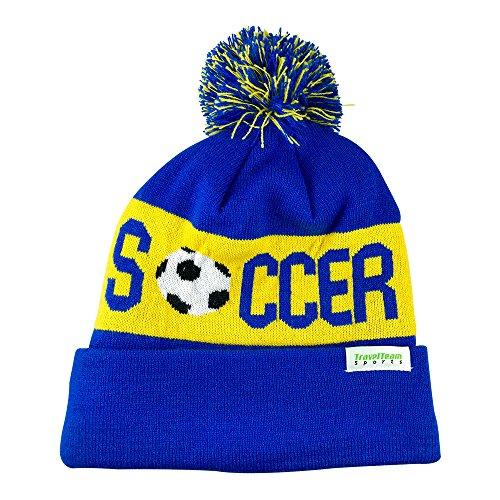 TravelTeamSports Pom Pom Beanies – Strickmütze mit Fleece-Futter, mit Fußball-Logo - Blau - Erwachsene Small