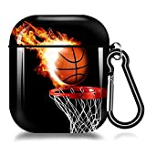 Fire Basketball AirPods Case Cover,Soft TPU AirPods Case 2&1 Shockproof Silicone Waterproof Protective AirPods Skin Cover Protective Case for Airpods 1st/2nd Charging Case For iPhone X/XS/XR/Xs MAX/7/