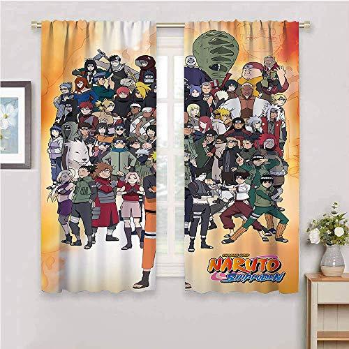 Cortinas opacas con diseño de anime japonés Naru-to con aislamiento térmico para sala de estar, 163 x 163 cm