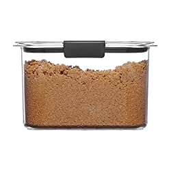 large rectangular clear container with brown sugar