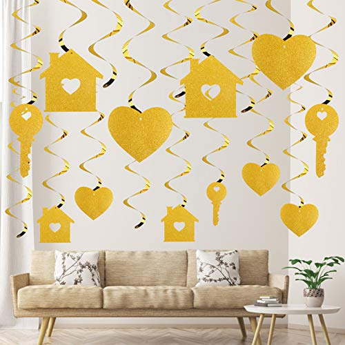 Luxiocio Housewarming Party Hanging Swirls Decorations, 12pcs New Home Party Hanging Swirl Supplies, Glitter Gold House Warming Party Sign Decor