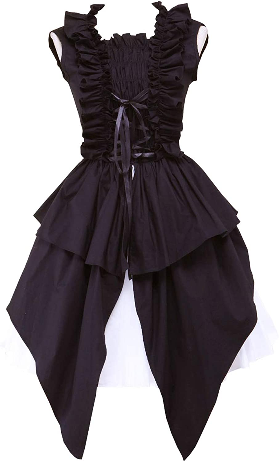 Antaina Black Cotton Halter Ruffle Classic Gothic Punk Lolita Cosplay Dress