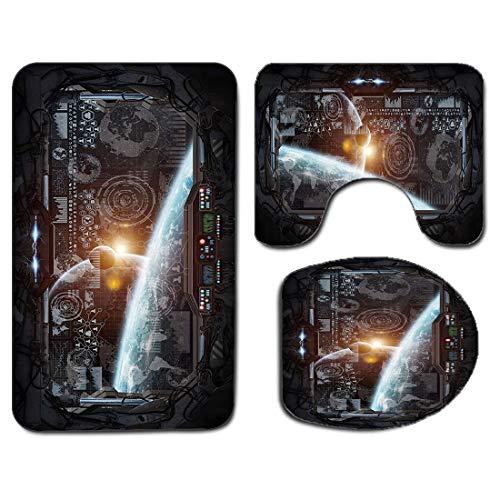 3Pcs Alfombra de baño antideslizante Juego de tapa de la tapa del asiento del inodoro Espacio exterior Alfombra de baño antideslizante suave Panel de control de la pantalla de la cabina en vuelo espac