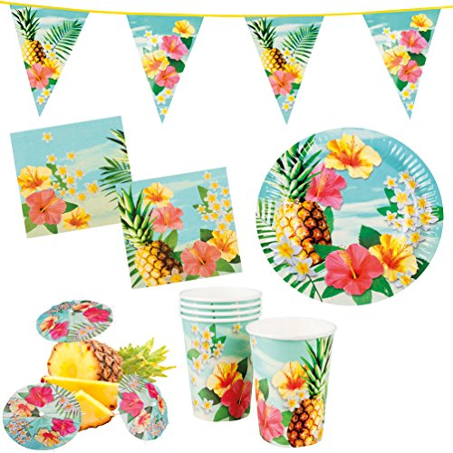 Karneval-Klamotten Party Set XXL Hawaii Blume Hibiskus 31 Teile : Teller, Becher, Servietten, Cocktail-Schirmchen, Wimpelkette