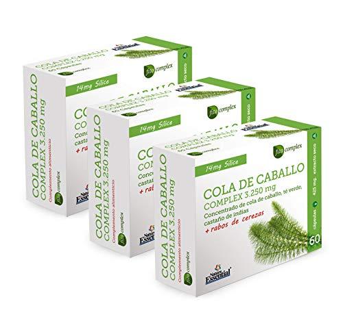 NATURE ESSENTIAL | Cola de caballo Complex 3.250 mg, 60 Cápsulas, con té Verde, rabos de cereza y castaño de indias (Pack 3 unid.)