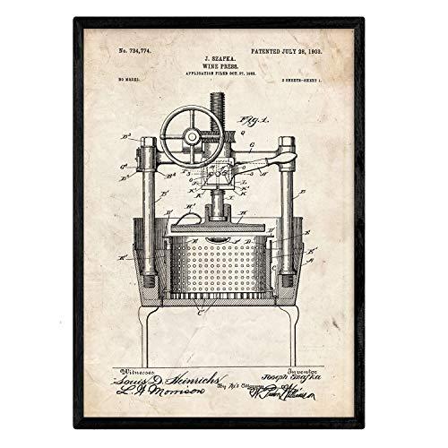 Nacnic Poster con Patente de Prensadora de Vino. Lámina con diseño de Patente Antigua en tamaño A3 y con Fondo Vintage