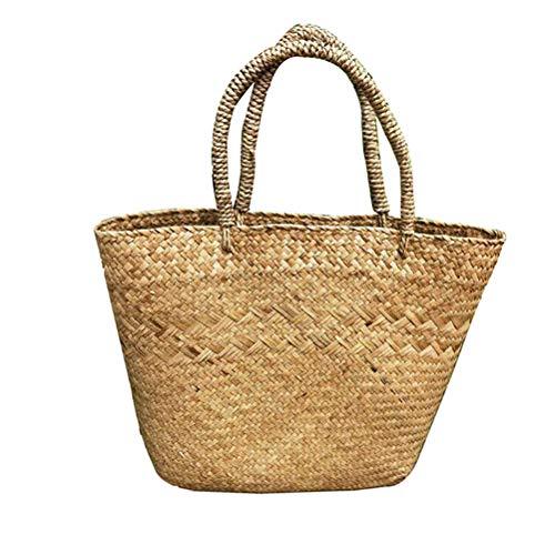 Mankoo Korbtasche, Sommer Stroh Strandtasche, Seegras Tasche, Tasche Einkaufskorb Groß Natur I 30 * 28 * 10Cm