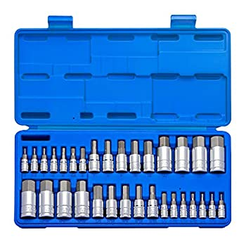 NEIKO 10288A Master Hex Bit Socket Set   32 Piece   1/4  3/8  & 1/2  Drives   S2 Steel Precision Machined Bits   Cr-V Steel Socket Construction   Standard SAE and Metric MM Size Sockets