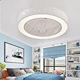 """letaowl 22"""" Round Invisible Ceiling Fan with Light,Modern Semi Flush Mount Low Profile Fan with Remote,3 Speeds Adjustable 3 Colors Dimmable Enclosed Fan Chandelier Light for Home Office-N"""