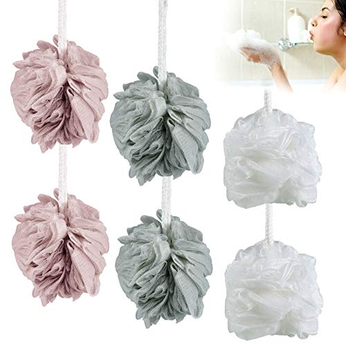 Esponja Exfoliante de Malla, Esponja de baño para la ducha 6 unidades de 60 g cada una, esponja puf de malla lufa para el baño