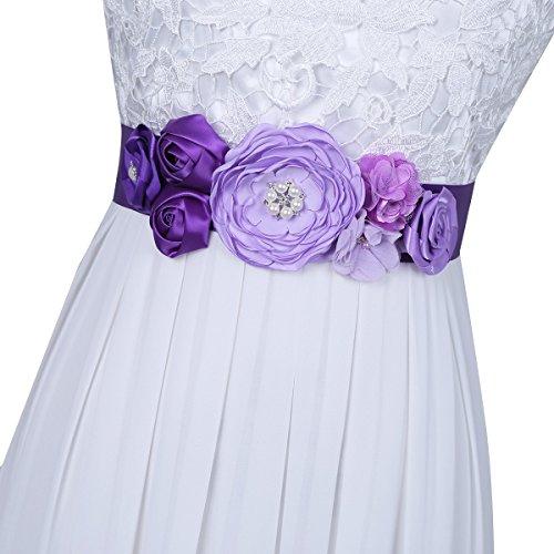 TiaoBug Damen Brautgürtel Strass und Perle Hochzeit Schärpe Glitzer für Hochzeit Party Brautjungfernkleider Lila One Size