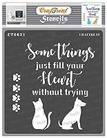 CrafTreat 引用文 木製ペインティング用ステンシル 猫と犬のステンシル 6x6インチ 犬の足跡プリントステンシル 猫の足跡のステンシル ペットのステンシル 引用句のステンシル ハートステンシル