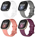 Recoppa 4 Pack Bands Compatible for Fitbit Sense, Fitbit Versa 3 Bands for Women Men, Soft Silicone Sport Strap Replacement Wristband for Fitbit Versa 3/ Sense, White Grey Pink Fuchsia Large