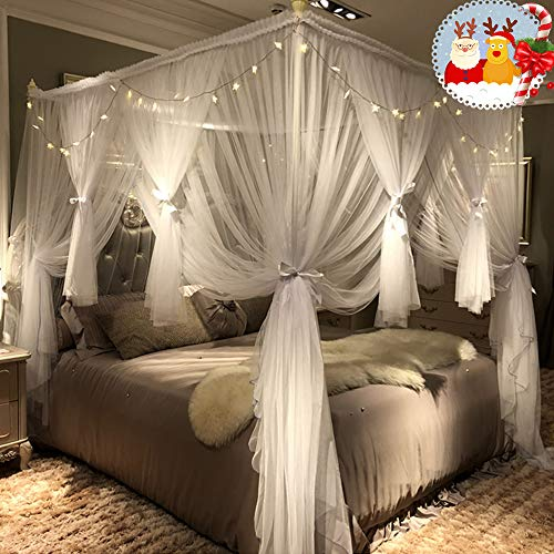 Joyreap Mosquito Bed Canopy Net - Luxury Canopy netting - 4 Corners Post Bed Canopies - Princess Style Bedroom Decoration for Adults &Girls - for Twin/Full/Queen/King Size Beds ((White, 59