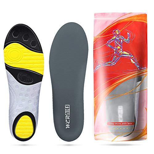Grey Size 7 Running Shoes Inserts for Men Women, Athletic Arch Comfort Insole