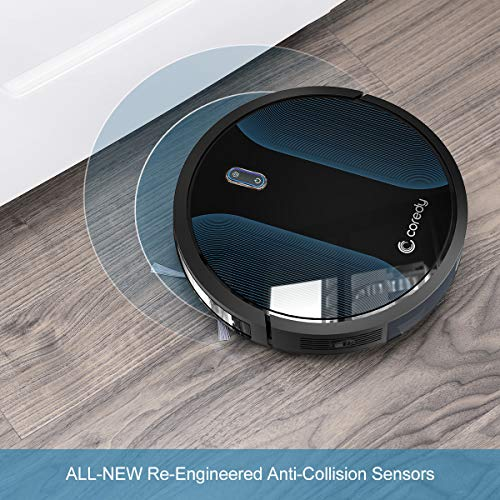 Coredy Robot Vacuum Cleaner, All-New Upgraded, Virtual Boundary Supported, 360° Smart Sensor Protection, 1400Pa Max Suction, Super Quiet, Self-Charge Robotic Vacuums, Cleans Hard Floor to Carpet
