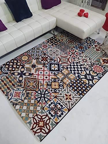Stock ALFOMBRAS. Alfombra Baldosa Hidráulica Multicolor . Moderna y Elegante 80X150 Ideal para Dormitorio y recibidor.