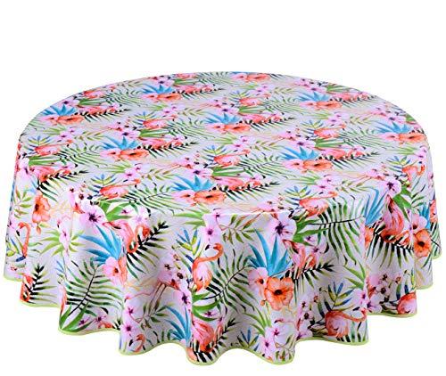 Home Direct Wachstuch Tischdecke Abwaschbar Rund 160cm Grün Rosa Weiß Flamingo