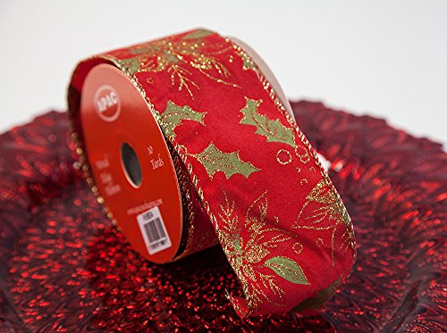 Apac Nastro rinforzato a tema natalizio 63MMX10YDS 8design regalo regalo di Natale Decorazioni Velvet Poinsettia