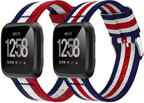 Nylon Trenzado Correa de Reloj Compatible con Fitbit Versa, Clásicos exquisitos Pulseras de la Correa de los Hombres (2PCS C)