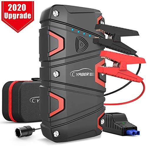 YABER 1200A Peak Car Jump Starter (up to 7.5L Gas/6.0L Diesel) 15000mAh Portable Power Pack with USB Quick Charge 3.0, 12V Battery Booster with Smart Jumper Cable, Phone Charger Built-in LED Light
