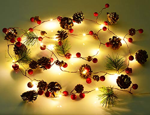 Lvydec 6.7ft Lighted Christmas Garland - 20 LED Red Berry Pine Cone Garland Battery Operated String Lights, Decorations for Christmas Tree Fireplace Banisters