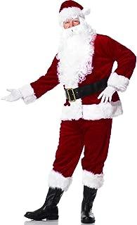 Suroomy Christmas Santa Suit Adults Men Santa Claus Suit Deluxe Velvet Santa Costume 6pcs