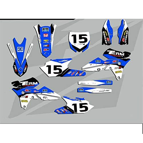 Adhesivos de equipo de gráficos libre modificó etiquetas Kits for Yamaha YZ250F YZ450F YZF250 YZF450 2014 2015 2016 2017 YZF 450 YZF 250 (Color : 1)