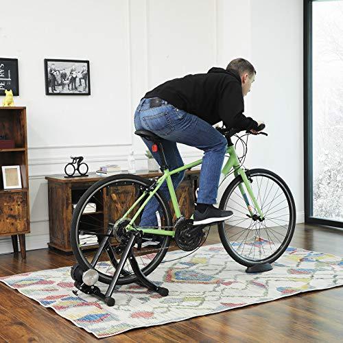 SONGMICS Trainer di Resistenza per Bicicletta con Volano per Riduzione del Rumore, Stand Pieghevole per Bici, Facile da Riporre, Nero SBT01B